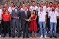 Los Reyes y Pedro Sánchez reciben a la selección española de baloncesto