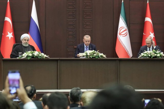 Hasán Rohani, Recep Tayyip Erdogan y Vladimir Putin en Ankara