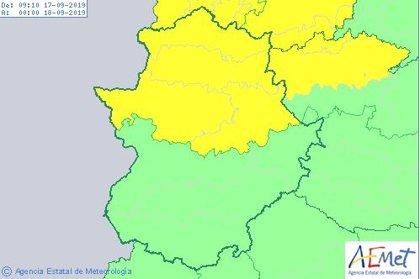 El 112 activará a las 14,00 horas de este martes la alerta amarilla por lluvias y tormentas en la provincia de Cáceres
