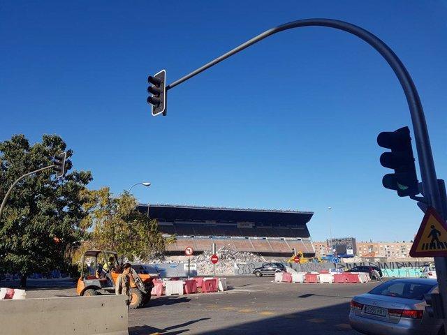 Obras de demolición del estadio Vicente Calderón