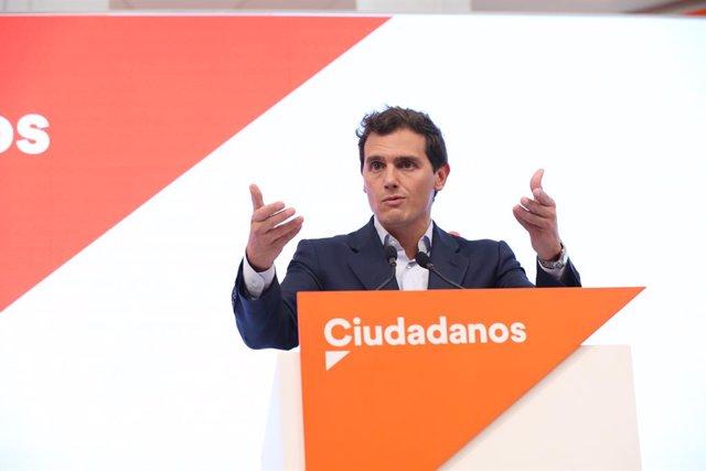 El president de Ciutadans, Albert Rivera, ofereix una roda de premsa després del Comitè Permanent del partit, Madrid (Espanya), 16 de setembre del 2019
