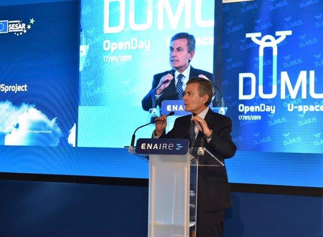 El secretario de Estado de Infraestructuras, Pedro Saura preside la primera demostración pública de integración de drones en espacio aéreo