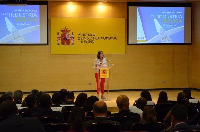 Reyes Maroto, ministra de Industria, Comercio y Turismo  durante la inauguración de la Agenda Sectorial de la Industria Eólica