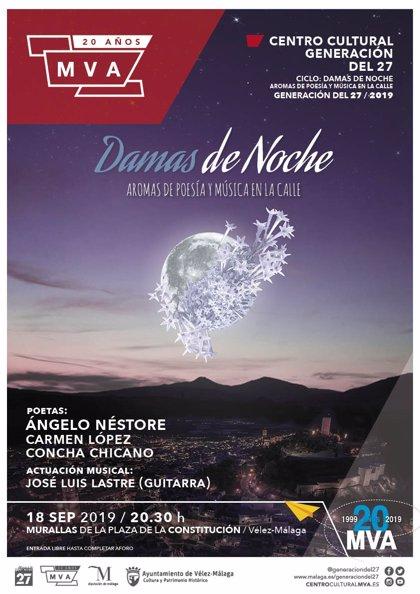 El ciclo poético musical 'Damas de noche' regresa a Vélez-Málaga con Ángelo Néstore, Carmen López y Concha Chicano
