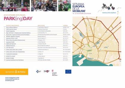 Un total de 18 entidades participan en el 'Park(ing) Day' de Palma en motivo de la Semana Europea de la Movilidad