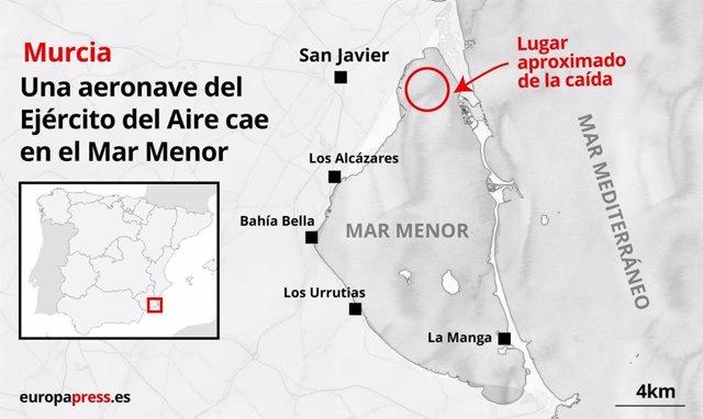 Mapa que indica el punto aproximado en el que una aeronave de la Academia General del Aire (AGA) se ha estrellado en el Mar Menor.