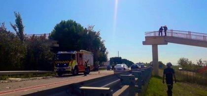 Un camión grúa derriba una pasarela peatonal sobre la CV-500 en el Saler