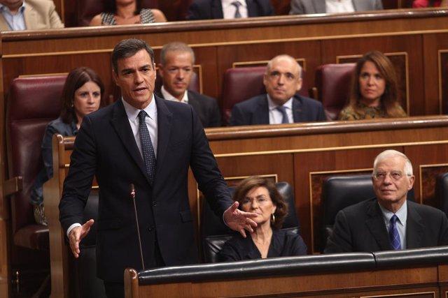 El president del Govern en funcions, Pedro Sánchez, compareix en sessió de control al Govern en funcions un dia després de conèixer-se amb gairebé plena seguretat la repetició d'eleccions el 10 de novembre, Madrid (Espanya), 18 de setembre del 2019.
