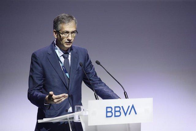 El governador del Banc d'Espanya, Pablo Hernández de Cos, durant la seva intervenció en la trobada Edufin Summit 2019: 'Digitalització i educació financera, una nova era per a cobrir oportunitats' organitzada per BBVA.