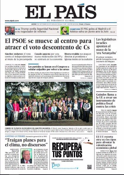 Las portadas de los periódicos del jueves 19 de octubre de 2019