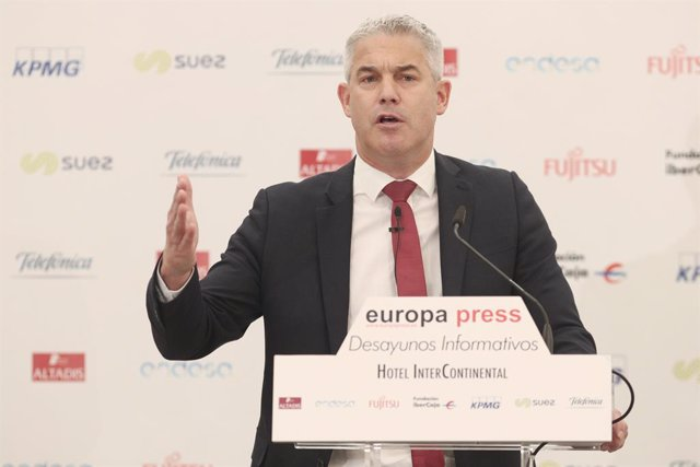 El ministre britànic pel Brexit, Stephen Barclay, intervé durant els Esmorzars Informatius d'Europa Press a Madrid el dijous 19 de setembre de 2019