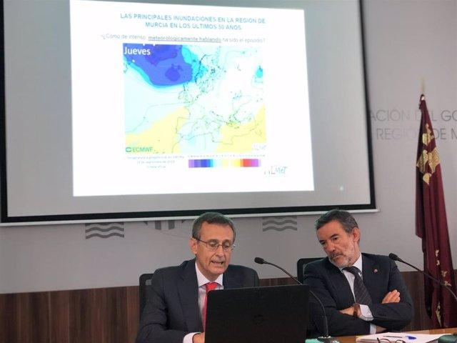 Juan Esteban Palenzuela y Francisco Jiménez ofrecen datos del episodio de gota fría en la Región