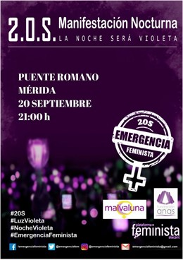 Cartel manifiestación en Mérida