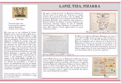 La Diputación de Cáceres expone documentos pedagógicos sobre la escuela de la II República y el franquismo
