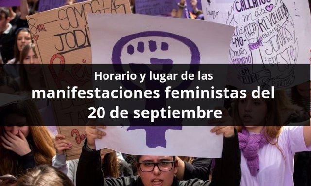 Horario y lugar de las manifestaciones feministas del 20 de septiembre