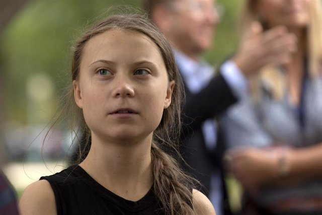 9/17/2019 - Washington, District of Columbia, United States of America: Youth climate activist Greta Thunberg joined United States Senator Ed Markey (Democrat of Massachusetts) at a press conference on climate change outside the U.S. Capitol in Washington