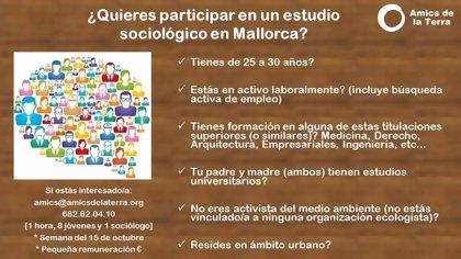 Amics de la Terra busca a ocho jóvenes profesionales de Mallorca para un estudio sociológico a nivel nacional