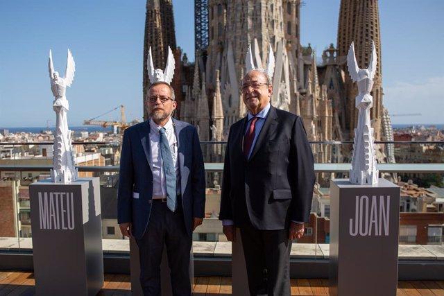 L'arquitecte director de les obres de la Sagrada Família i el president delegat del complex, Jordi Faulí i Esteve Camps presenten l'evolució de les obres de la basílica, a Barcelona, a 19 de setembre de 2019.