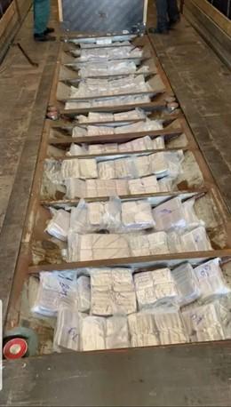 Cantidad de droga incautada en el remolque de un camión hacia Algeciras
