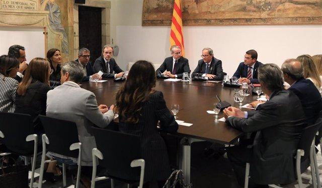 El presidente de la Generalitat, Quim Torra, reunido este miércoles con la junta directiva del Círculo de Economía