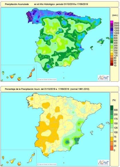 Las lluvias de la pasada DANA reducen el déficit hídrico acumulado en el año hidrológico del 15 al 12% esta semana