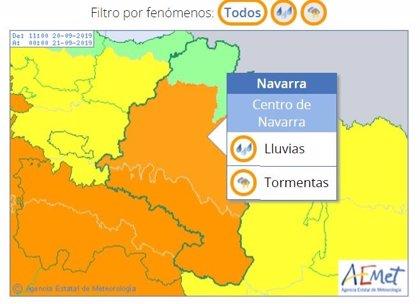 El Gobierno de Navarra recomienda extremar la precaución ante la alerta naranja por lluvias y tormentas