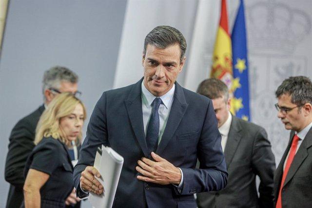 El presidente del Gobierno, Pedro Sánchez, ofrece una rueda de prensa  posterior a su reunión con el Rey para proponer candidato a la Presidencia del Gobierno, en el complejo de La Moncloa, Madrid (España) a 17 de septiembre de 2019.