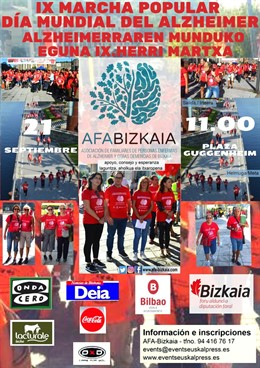 Cartel de la IX Marcha del Día Mundial del Alzhemer en Bilbao.