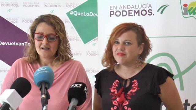 Lourdes Antón (i), del sindicato de Trabajadores de Autoescuelas del Sur (Sitaes) y la parlamentaria andaluza de Adelante Vanessa García