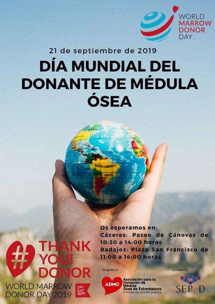 ADMO instalará este sábado mesas informativas en Badajoz y Cáceres para concienciar sobre la donación de médula ósea