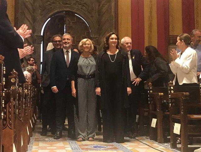 Jaume Collboni, Manuela Carmena, Ada Colau i Ernest Maragall