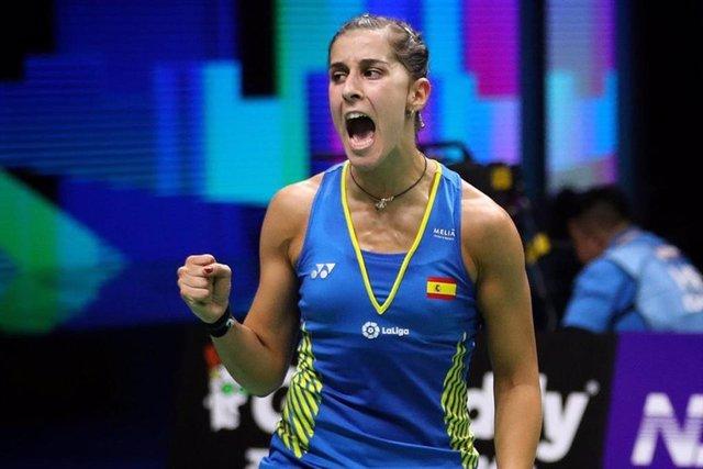 La española Carolina Marín celebrando un punto en la final del Mundial de bádminton de 2018, celebrado en Nanjing (China).