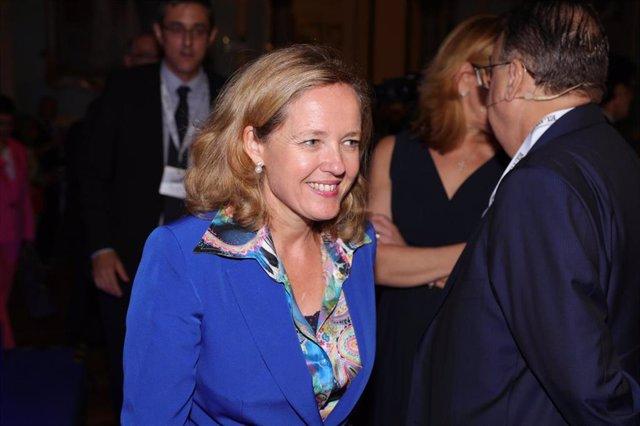La ministra en funciones de Economía y Empresa del gobierno en España, Nadia Calviño en la inauguración del Foro Tendencias España 2020, organizado por El País y Kreab en el Casino de Madrid, a 18 de septiembre de 2019.