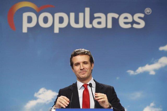 El presidente del PP,  Pablo Casado, ofrece una rueda de prensa tras la reunión de la Junta Directiva Nacional del partido en su sede, en la que se ha aprobado la nueva estructura del Partido Popular.