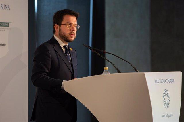 El vicepresident i conseller d'Economia del Govern, Pere Aragonés, en l'esmorzar-conferencia a Barcelona Tribuna