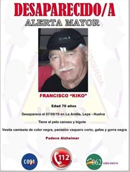 Se busca a un varón de 70 años desaparecido en Lepe