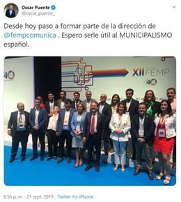 Captura de pantalla del tuit del alcalde de Valladolid, Óscar Puente.