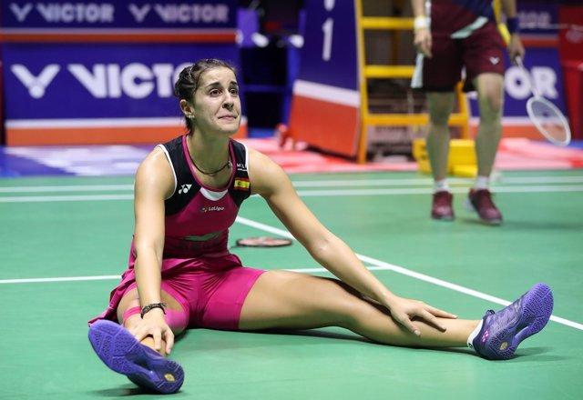 La española Carolina Marín celebra un punto en la final del Mundial de bádminton de 2018, celebrado en Nanjing (China).