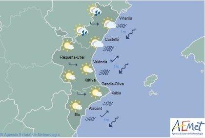 Cielos nubosos en el norte de la Comunitat Valenciana y chubascos en Castellón este domingo