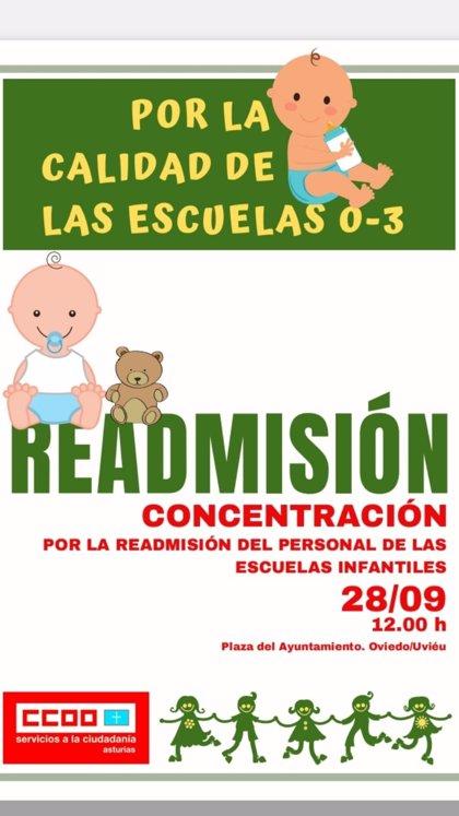 Las educadoras de 0 a 3 de Oviedo organizan una concentración el próximo sábado para pedir su readmisión