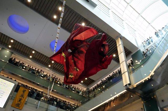 Protesta en un centro comercial de Sha Tin, Hong Kong