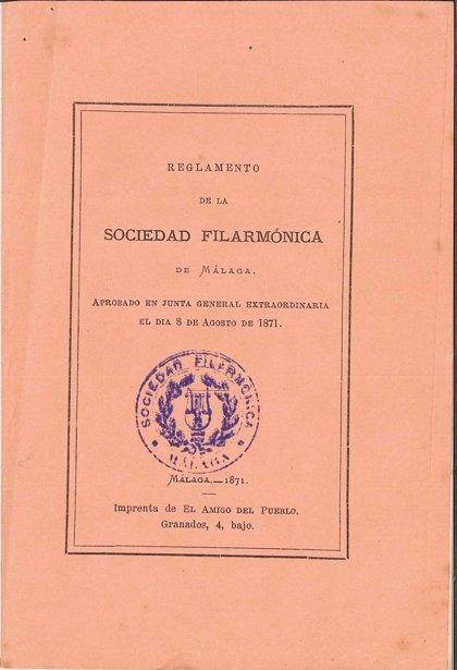 El Archivo Histórico Provincial conmemora los 150 años de la creación de la Sociedad Filarmónica de Málaga