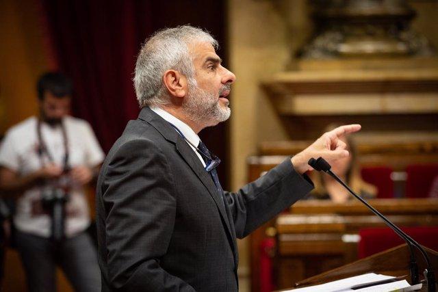 El relleu d' Inés Arrimadas al capdavant de C?s a Catalunya, Carlos Carrizosa, intervé en un ple al Parlament de Catalunya, el mateix dia en què JxCat, ERC i la CUP vetin la candidatura de senador a Miquel Iceta per designació autonòmica