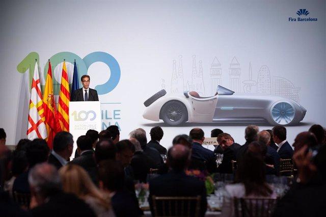 Pau Relat, Quim Torra, Felipe VI i Reyes Maroto, presents en la Segona jornada en el Saló de l'Automòbil a Barcelona