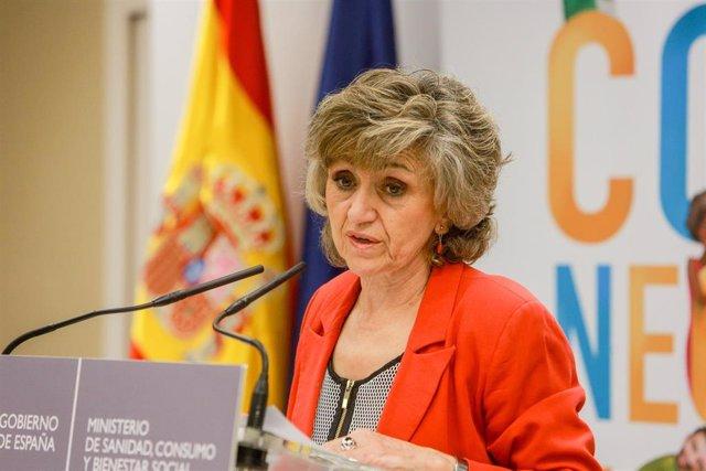 La ministra de Sanidad, Consumo y Binestar Social en funciones, María Luisa Carcedo, durante su intervención en la inauguración del acto institucional del Día Mundial para la Prevención del Suicidio
