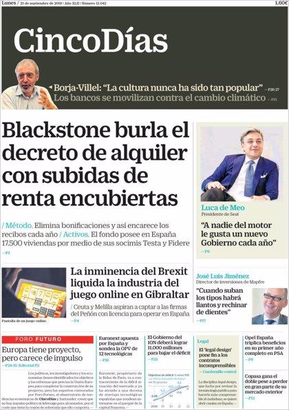 Las portadas de los periódicos económicos de hoy, lunes 23 de septiembre