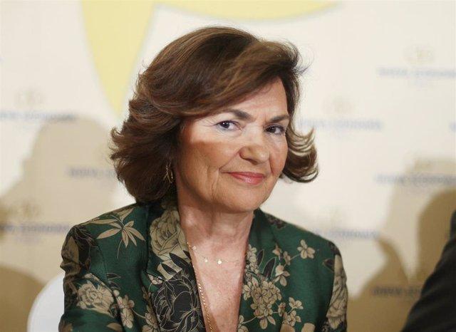 La vicepresidenta del Gobierno en funciones, Carmen Calvo, en el desayuno informativo de Nueva Economía Forum, en Madrid (España), a 23 de septiembre de 2019.