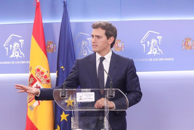 El president de Ciudadanos, Albert Rivera, ofereix una roda de premsa al Congrés dels Diputats.