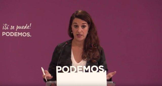 Rueda de prensa de Noelia Vera, portavoz del Consejo de Coordinación de Podemos