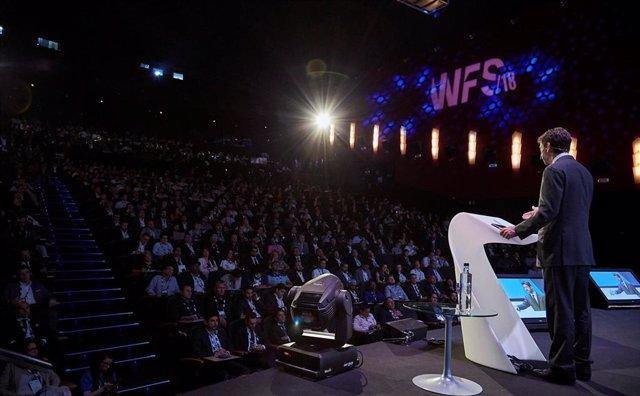El presidente de la Juventus, Andrea Agnelli, en World Football Simmit